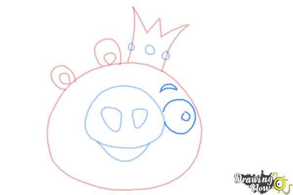 How to Draw Angry Birds Pig, King Pig - Step 6