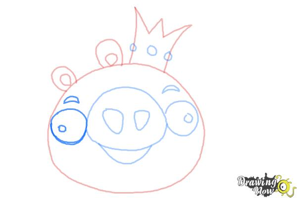 How to Draw Angry Birds Pig, King Pig - Step 7