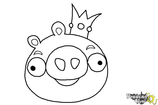 How to draw angry birds pig king pig step 8