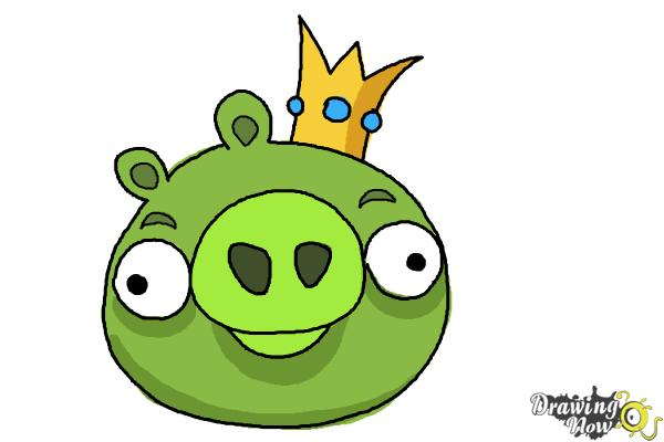 How to Draw Angry Birds Pig, King Pig - Step 9