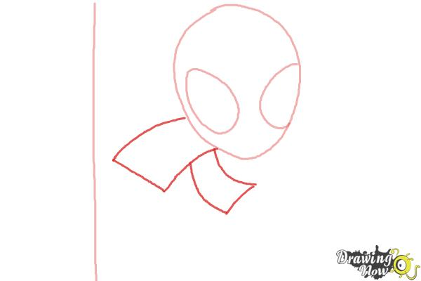 How to Draw Chibi Spiderman - Step 2