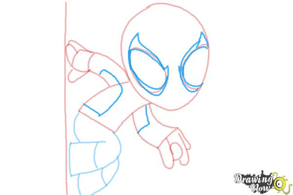 How to Draw Chibi Spiderman - Step 6
