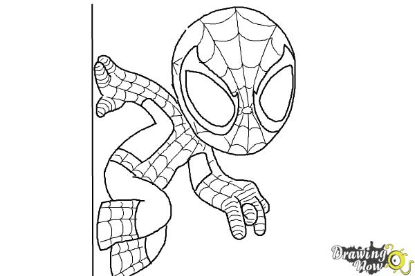 How to draw chibi spiderman drawingnow for Baby spiderman coloring pages