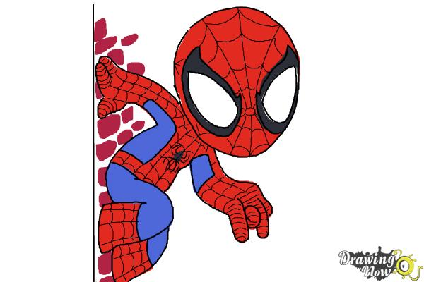 How to Draw Chibi Spiderman - Step 8