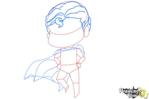 How to Draw Chibi Superman - Step 6