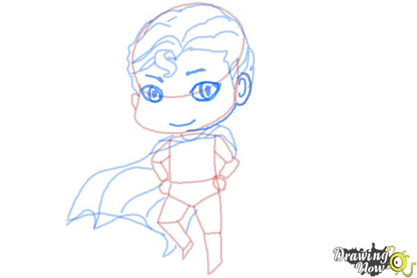 How to Draw Chibi Superman - Step 7