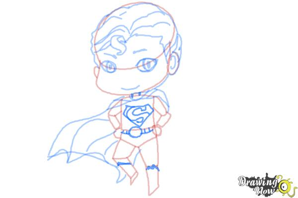How to Draw Chibi Superman - Step 8