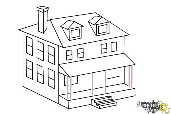 How to draw a house two story house step 10
