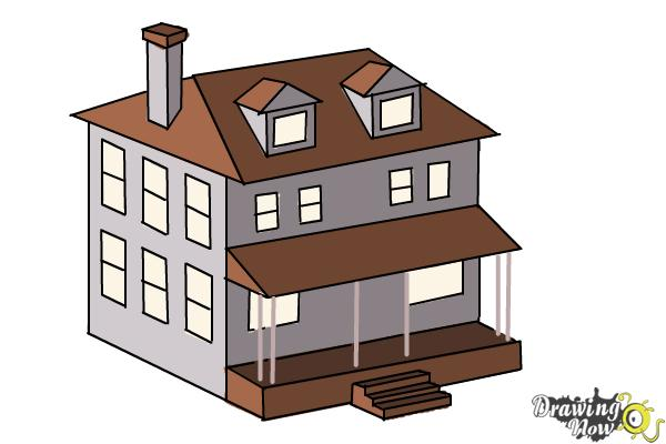 How to Draw a House, Two Story House - Step 11