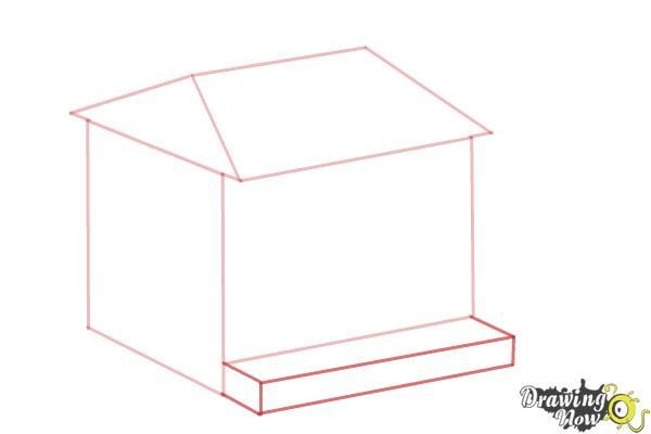 How to Draw a House, Two Story House - Step 4