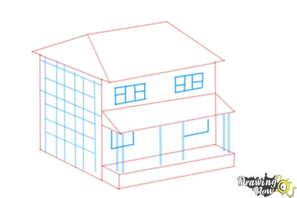 How to Draw a House, Two Story House - Step 7