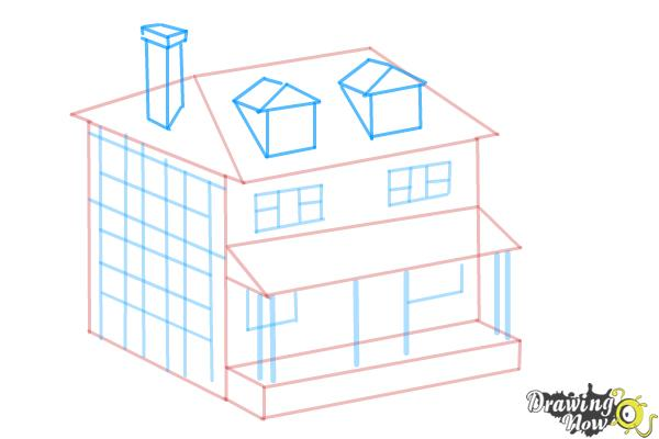 How to draw a house two story house step 8