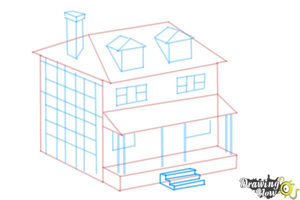 How to Draw a House, Two Story House - Step 9