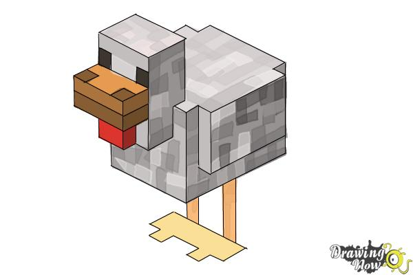 How to Draw Chickens from Minecraft - Step 10