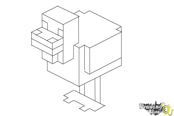 minecraft chicken coloring pages how to draw chickens from minecraft drawingnow