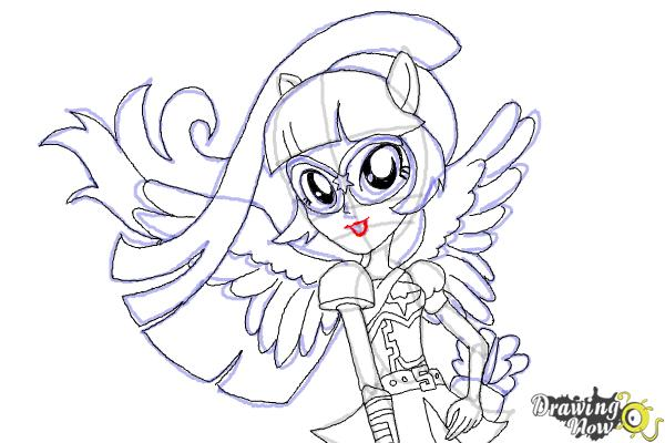 How to Draw Twilight Sparkle from My Little Pony Equestria Girls Friendship Games - Step 11
