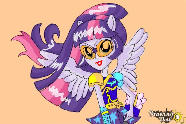 How to Draw Twilight Sparkle from My Little Pony Equestria Girls Friendship Games - Step 12
