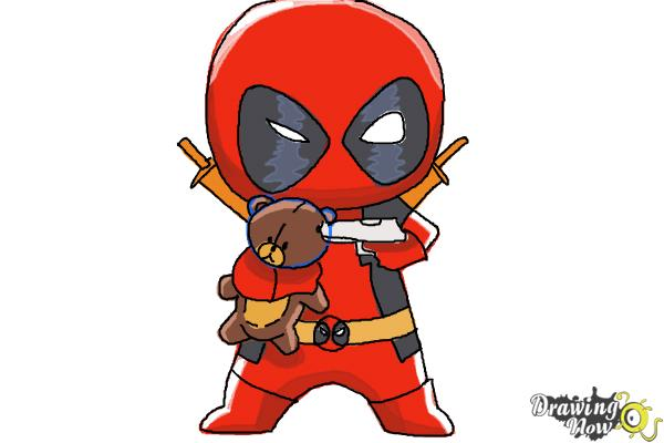 How to draw Chibi Deadpool - Step 10