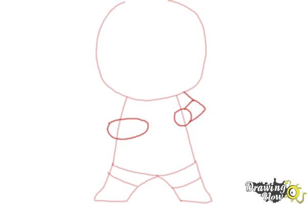 How to draw Chibi Deadpool - Step 3