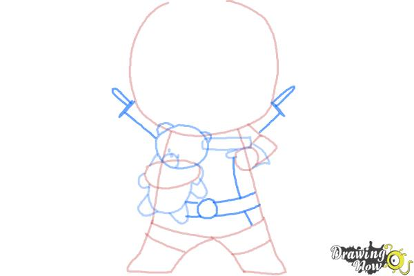 How to draw Chibi Deadpool - Step 7