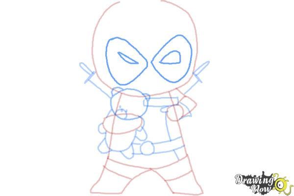 How to draw Chibi Deadpool - Step 8