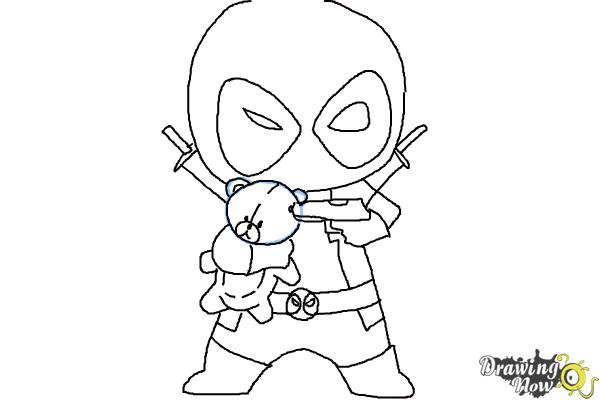 chibi deadpool coloring pages how to draw chibi deadpool drawingnow