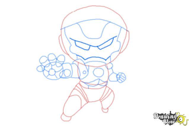 How to Draw Chibi Iron Man - Step 10