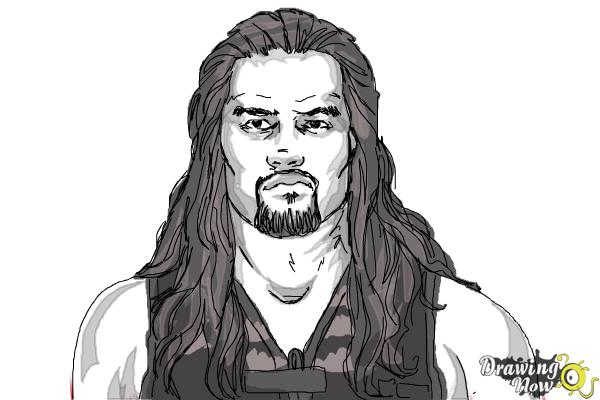 How to Draw Roman Reigns from WWE - Step 11