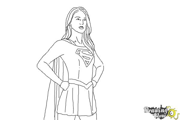 How to Draw Supergirl 2015 - Step 10