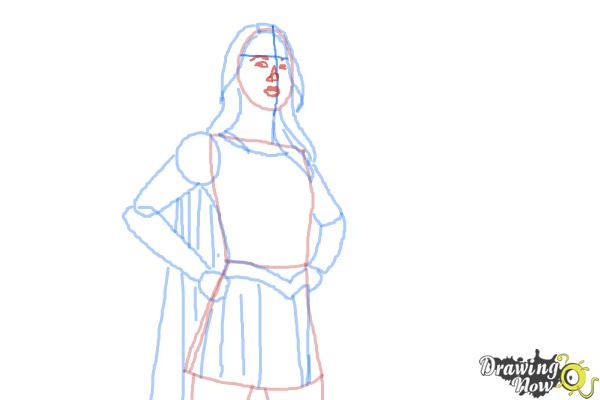 How to Draw Supergirl 2015 - Step 8