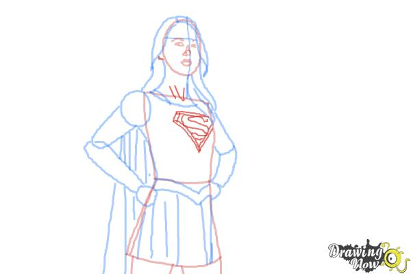 How to Draw Supergirl 2015 - Step 9