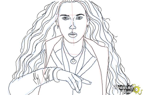 How to Draw Scarlet Witch from Avengers: Age Of Ultron - Step 9
