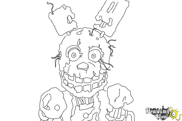 How to Draw Springtrap from Five Nights at Freddy's 3 - Step 10