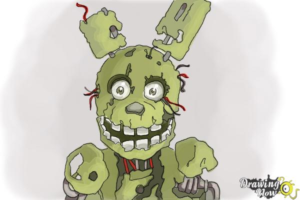 how to draw springtrap from five nights at freddy s 3 drawingnow
