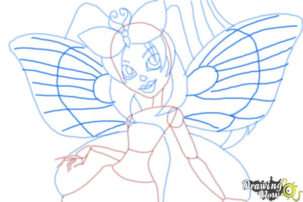 How to Draw Luna Mothews from Monster High - Step 10