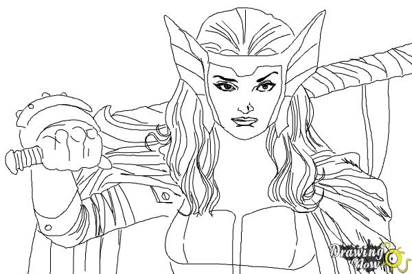 How to Draw Sif from Marvel - Step 9