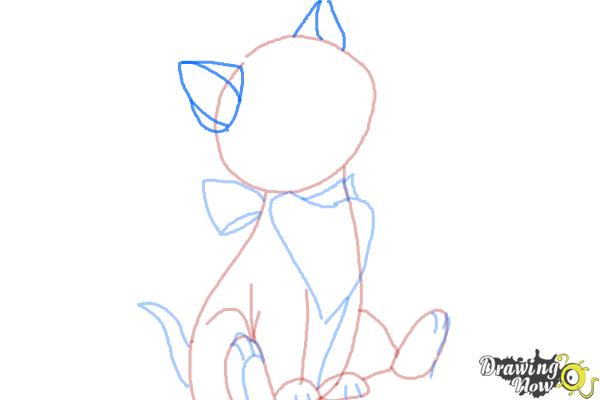 How to Draw Dinah from Alice In Wonderland - Step 6