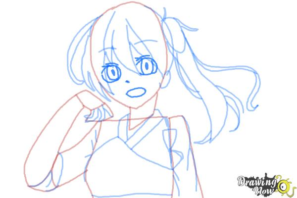 How to Draw Kaga from Kantai Collection - Step 8
