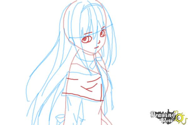 How to Draw Homura Akemi from Puella Magi - Step 7