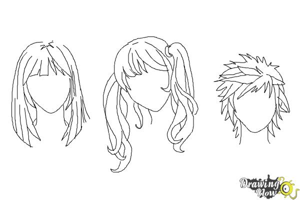 How to draw manga hair step 13