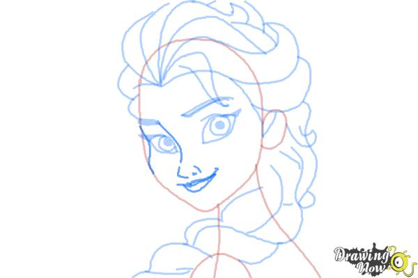 How to Draw Elsa Step by Step - Step 9