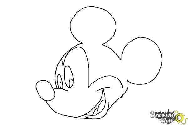 Line Drawing Mickey Mouse : How to draw mickey mouse step by drawingnow