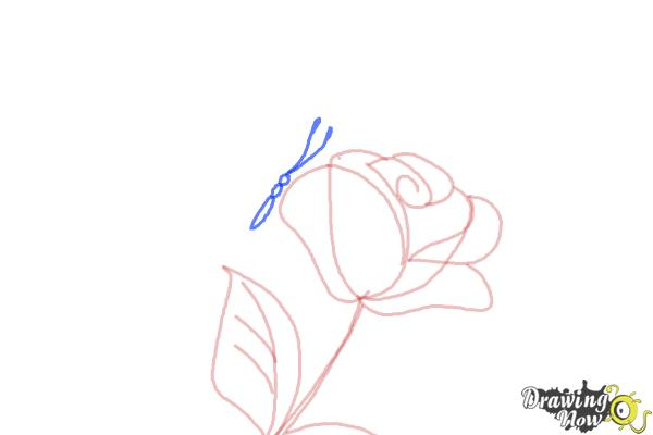 How to Draw a Butterfly On a Flower - Step 5