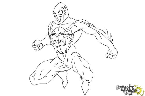How to Draw Spiderman 2099 - Step 10