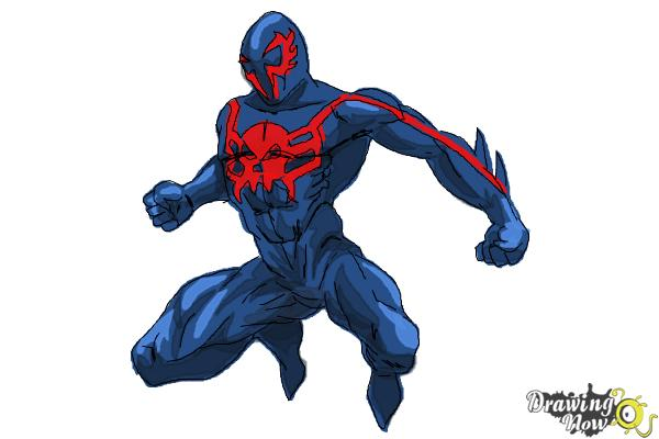 How to Draw Spiderman 2099 - Step 11