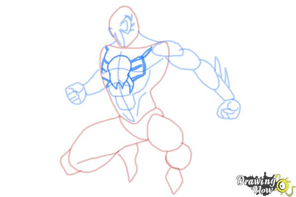 How to Draw Spiderman 2099 - Step 8