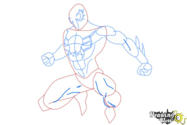 How to Draw Spiderman 2099 - Step 9