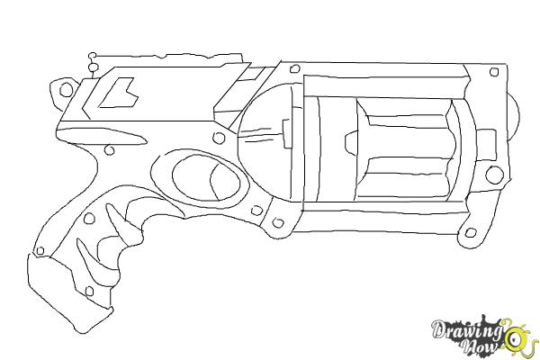 Coloring Pages Nerf Gun : How to draw a nerf gun drawingnow