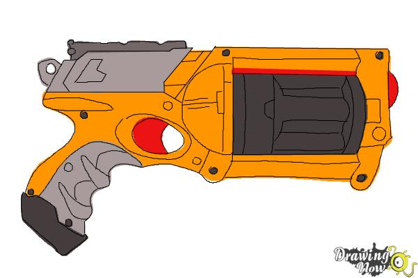 how to draw a nerf gun step 11 - Nerf Coloring Pages