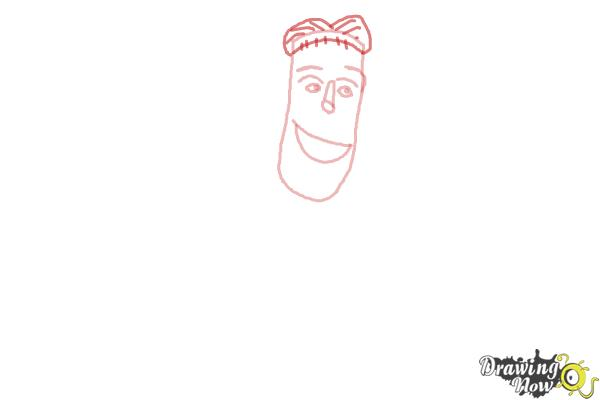 How to Draw Frankenstein from Hotel Transylvania 2 - Step 3